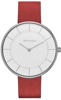 Skagen Gitte Round Leather Strap Watch, 38mm