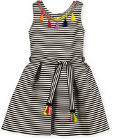 Zoë Ltd Sleeveless Pleated Striped Fit-and-Flare Dress, Black/White, Size 7-16