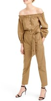 J.Crew Women's Off The Shoulder Khaki Jumpsuit