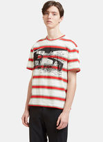 Stella Mccartney Men's Striped Printed T-shirt In Red And White