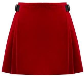 Christopher Kane Crystal-embellished Cotton-blend Velvet Skirt - Womens - Red