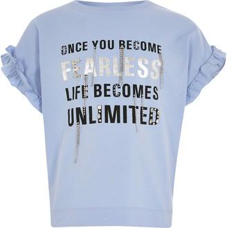 River Island Girls Blue printed diamante frill T-shirt