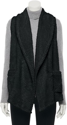 Croft & Barrow Petite Textured Draped Fleece Vest
