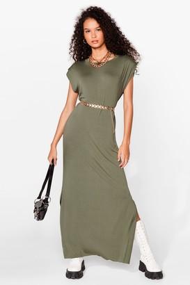Nasty Gal Womens Shoulder Pad Romance Slit Maxi Dress - Khaki
