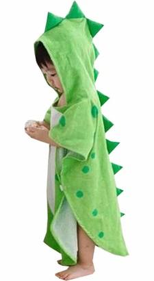 Alltops Kids Cotton Hooded Towel Cartoon Unicorn Dinosaur Bathrobe Bath Poncho Towel for Boys Girls 0-4 years