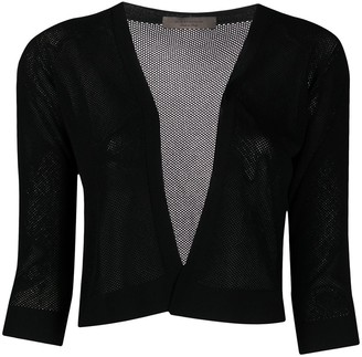 D-Exterior Mesh Knit Cropped Cardigan
