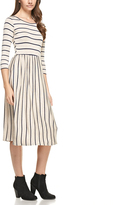 Oatmeal & Navy Stripe Pocket A-Line Dress