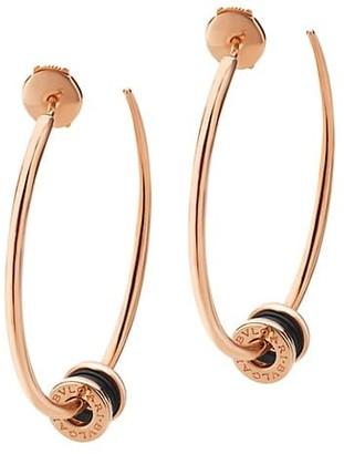 Bvlgari B.zero1 18K Rose Gold & Black Ceramic Large Hoop Earrings