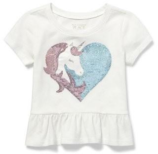 The Children's Place Short Sleeve Unicorn Heart Graphic Ruffle T-Shirt (Baby Girls & Toddler Girls)