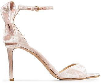 Valentino Bow-embellished Crushed-velvet Sandals