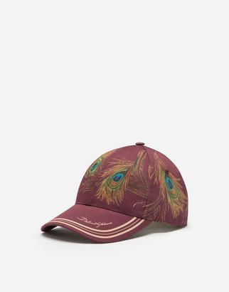 Dolce & Gabbana Feather-Print Baseball Cap