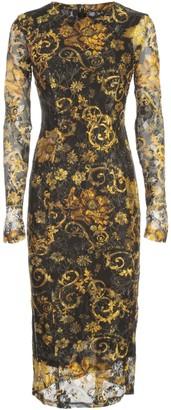 Versace Longuette Slim Dress W/lace