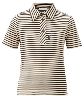 See by Chloe Striped Cotton-jersey Polo Shirt - Black Multi