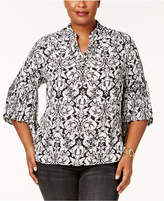 NY Collection Plus Size Embellished Printed Pleated-Sleeve Top