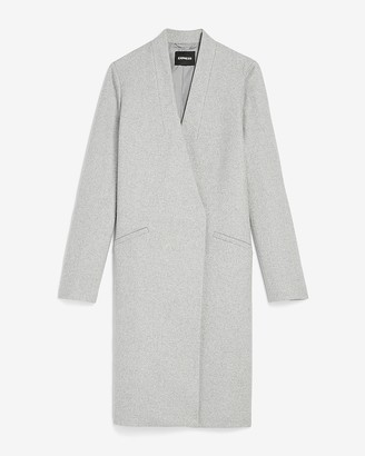 Express Collarless Wool-Blend Car Coat