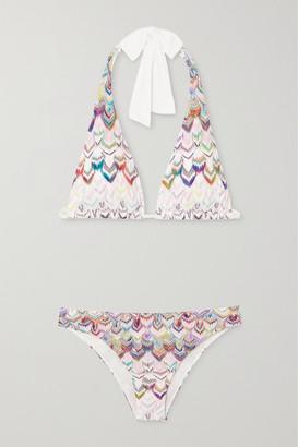Missoni Crochet-knit Halterneck Bikini - White