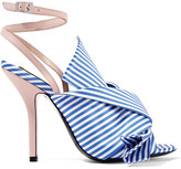 No.21 No. 21 - Knotted Striped Satin And Leather Sandals - Blue