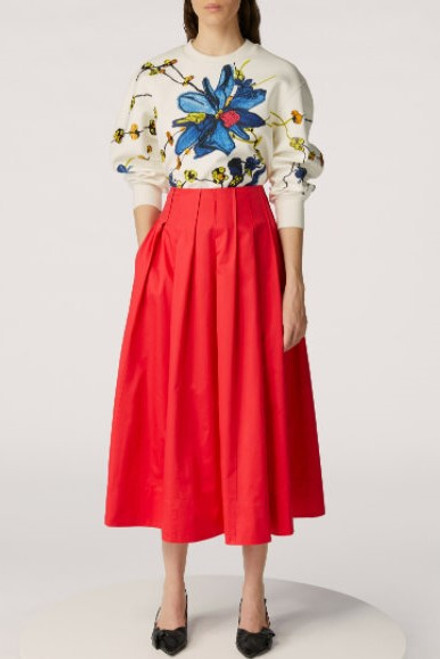 Jason Wu Collection Embroidered Sweatshirt and Cotton Skirt
