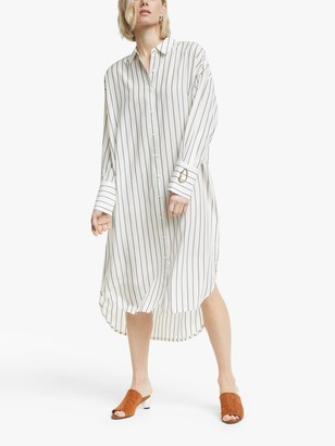 Mother of Pearl Tencel Stripe Shirt Dress, Ivory/Navy