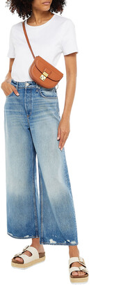 Rag & Bone Ruth Cropped Distressed High-rise Wide-leg Jeans
