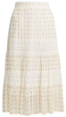 Temperley London Wondering Lace-insert Fil Coupe Chiffon Midi Skirt - Womens - White