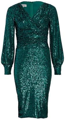 Teri Jon By Rickie Freeman Blouson Sleeve Sequin Sheath Dress