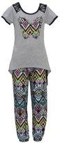 RMLA Little Girls Grey Kaleidoscope Butterfly Applique Hi-Lo 2 Pc Pant Set