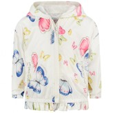 MonnaLisa MonnalisaBaby Girls White Butterfly Extra Light Reversible Jacket