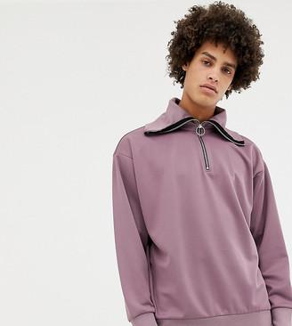 Noak half-zip funnel neck sweatshirt in lilac