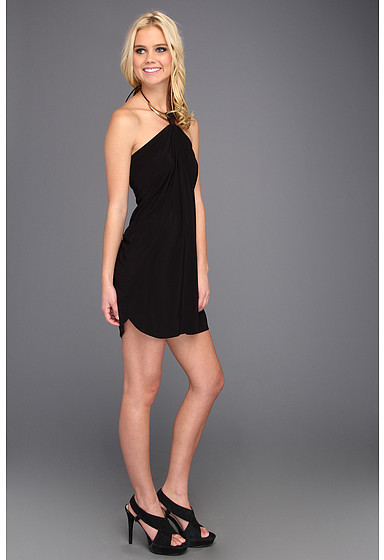 T-Bags Tbags Los Angeles Halter Mini Dress w/ Crescent Gold & Leather Strap Embroidered