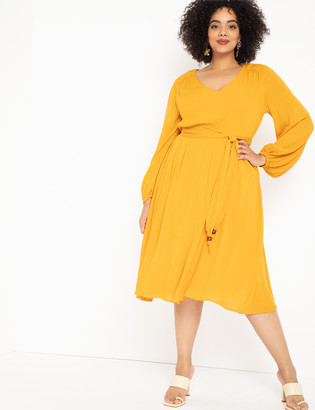 ELOQUII Balloon Sleeve Belted Dress