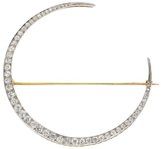 Renee Lewis 18K Yellow Gold & Antique Diamond Crescent Moon Brooch