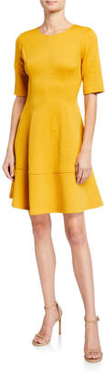 London Times Jacquard Fit-&-Flare Dress