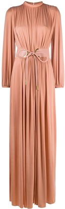 Elisabetta Franchi Gathered Gown With Belt Detail