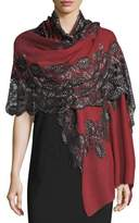 Bindya Pumice Lace-Overlay Evening Stole/Wrap, Purple/Black