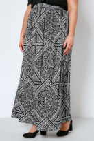 Yours Clothing Black & White Mixed Floral Print Jersey Maxi Skirt