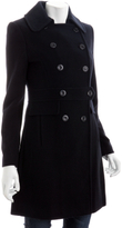 navy wool double breasted tab coat