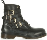 Daniel Besler Black Leather Lace Up Buckle Boots