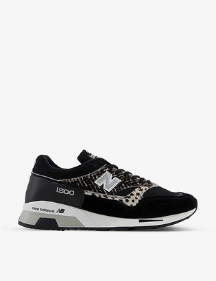 New Balance M1500 zebra-print suede and mesh trainers
