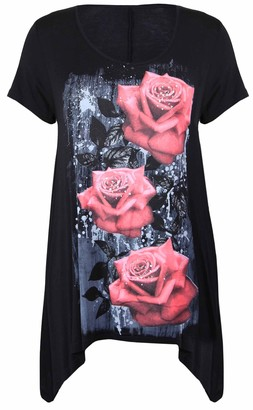 Purple Hanger New Womens Plus Size Uneven Hanky Hem Short Sleeve T-Shirt Top Ladies Floral Rose Print Jersey Tunic Black Size 22-24
