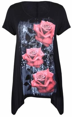 Purple Hanger New Womens Plus Size Uneven Hanky Hem Short Sleeve T-Shirt Top Ladies Floral Rose Print Jersey Tunic Black Size 24 26