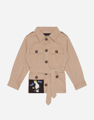 Dolce & Gabbana Single-Breasted Safari Jacket In Gabardine With Patch