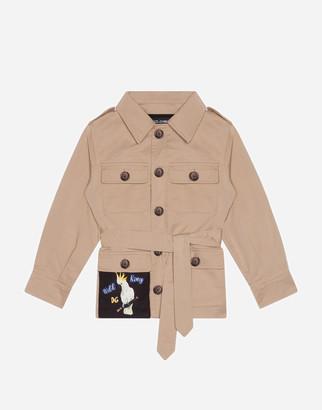 Dolce & Gabbana Single-Breasted Safari Jacket In Gabardine With Patch