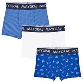 Mayoral Pack of 3 Blue and White Stripe, Solid and Pattern Trunks