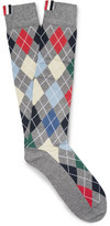 Thom Browne Argyle Intarsia Cotton-blend Over-the-calf Socks - Gray