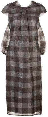 Erdem check print drape dress