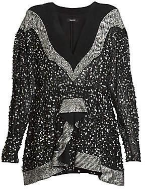 Isabel Marant Women's Caldes Embellished Chiffon Long-Sleeve Mini Dress