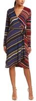 BCBGMAXAZRIA Striped Wrap Dress.