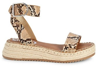 Sam Edelman Embossed Snake-Print Sandals
