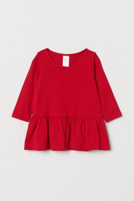 H&M Flounced Jersey Dress - Red